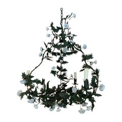 19th-20th Century Louis XV Style Tole and Porcelain Flower Chandelier