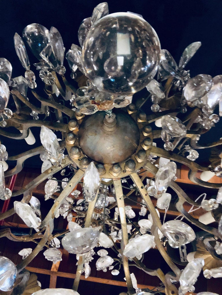 19th-20th Century Louis XVI Style 12 Light Bronze and Rock Crystal Chandelier For Sale 9