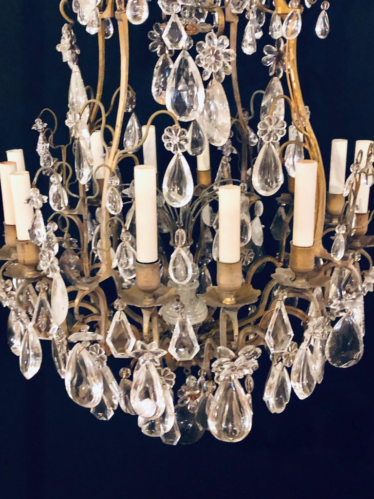 19th-20th Century Louis XVI Style 12 Light Bronze and Rock Crystal Chandelier For Sale 12