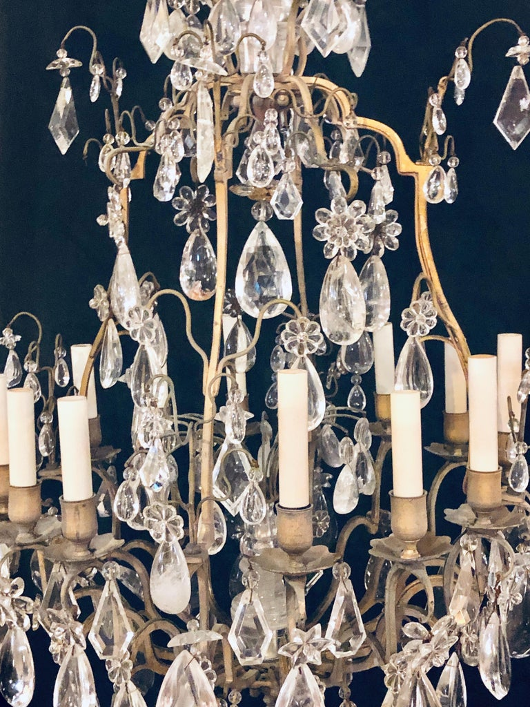 19th-20th Century Louis XVI Style 12 Light Bronze and Rock Crystal Chandelier For Sale 16