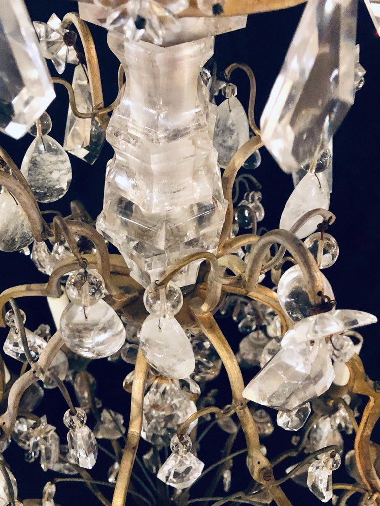 19th-20th Century Louis XVI Style 12 Light Bronze and Rock Crystal Chandelier For Sale 1