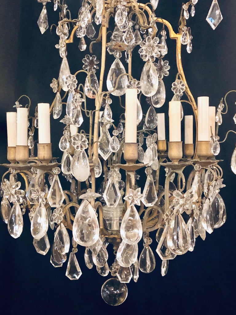 19th-20th Century Louis XVI Style 12 Light Bronze and Rock Crystal Chandelier For Sale 3