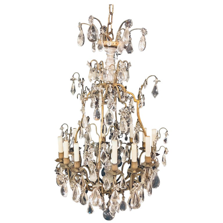 19th-20th Century Louis XVI Style 12 Light Bronze and Rock Crystal Chandelier For Sale