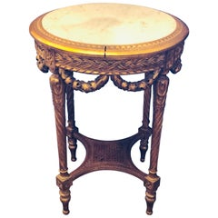 19th-20th Century Louis XVI Style Giltwood Marble-Top End, Center, Lamp Table