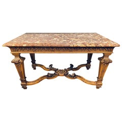 19th-20th Century Louis XVI Style Rouge Marble-Top Center Table