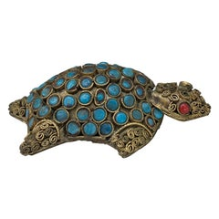 19th-20th Century Middle Eastern Gilt Metal Turtle with Coral & Turquoise