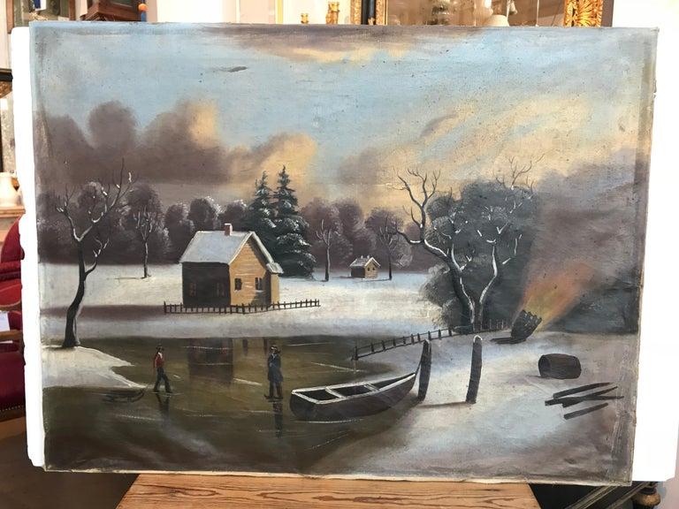 19th-20th Century Naive Winter Landscape For Sale 4