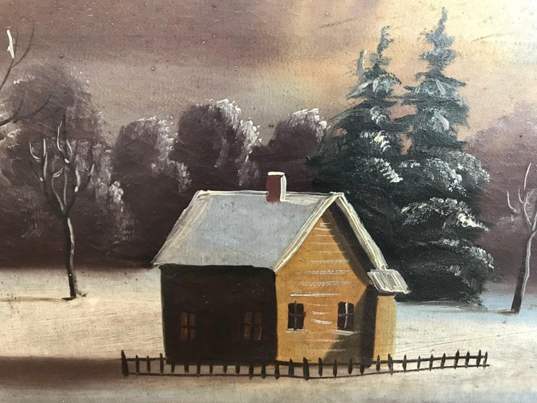 19th-20th century Naive winter landscape; American School. Unsigned oil on canvas, unframed.