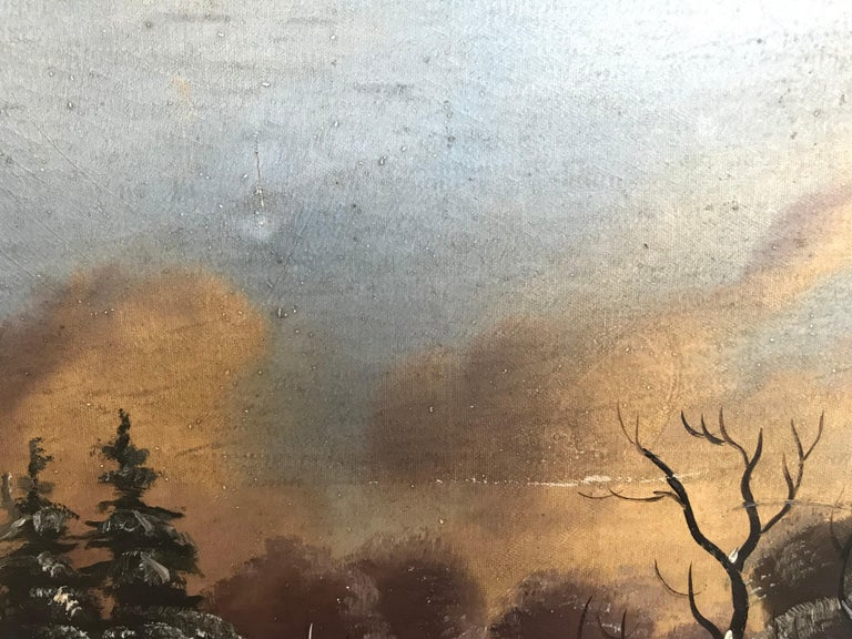 19th-20th Century Naive Winter Landscape In Good Condition For Sale In Boston, MA