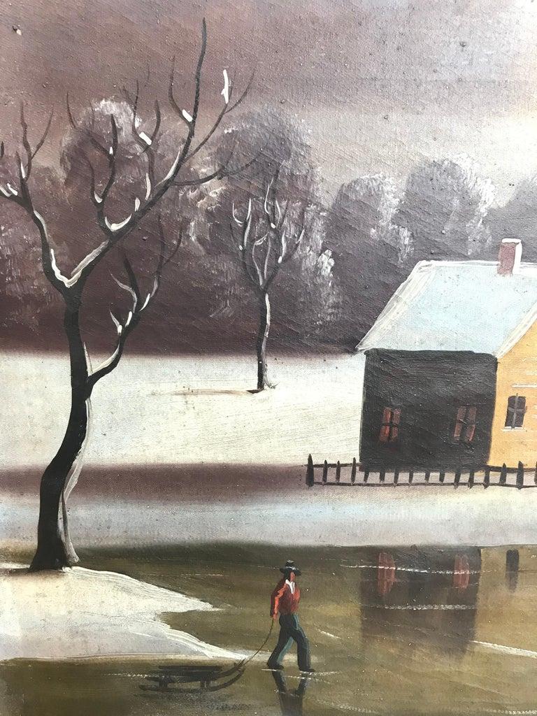 19th Century 19th-20th Century Naive Winter Landscape For Sale