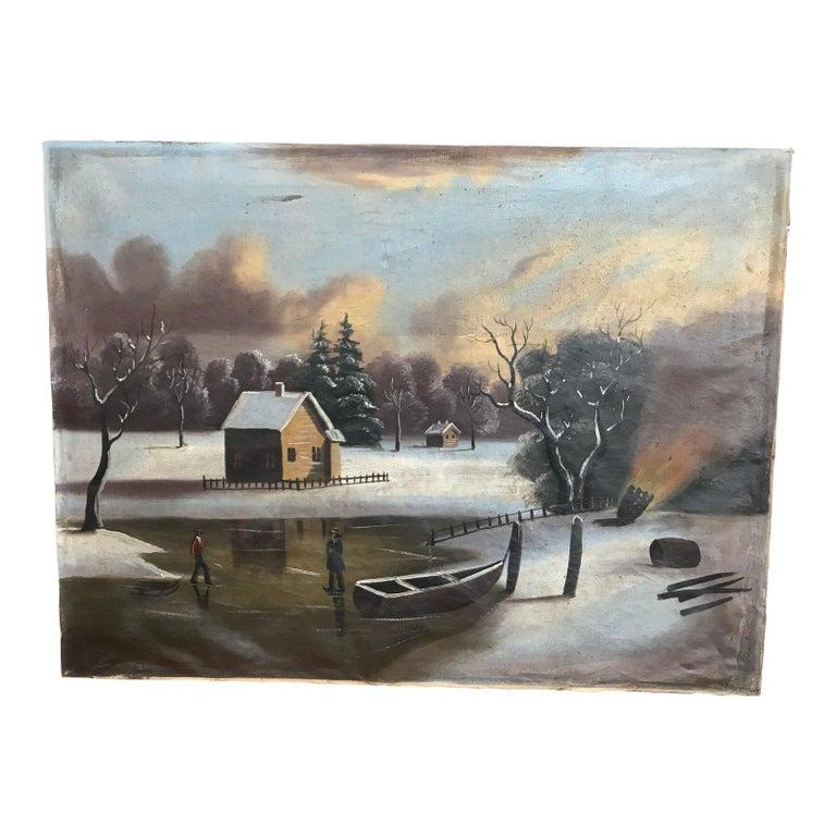 19th-20th Century Naive Winter Landscape For Sale