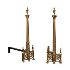 19th-20th Century Neoclassical Brass Andirons, Columns with Flaming Urns