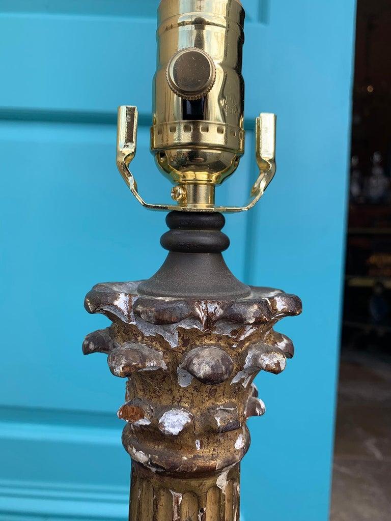 19th-20th Century Neoclassical Giltwood Corinthian Column Lamp For Sale 6