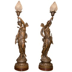 19th-20th Century Neoclassical Style Patinated Calamine, Glass, French Torchères