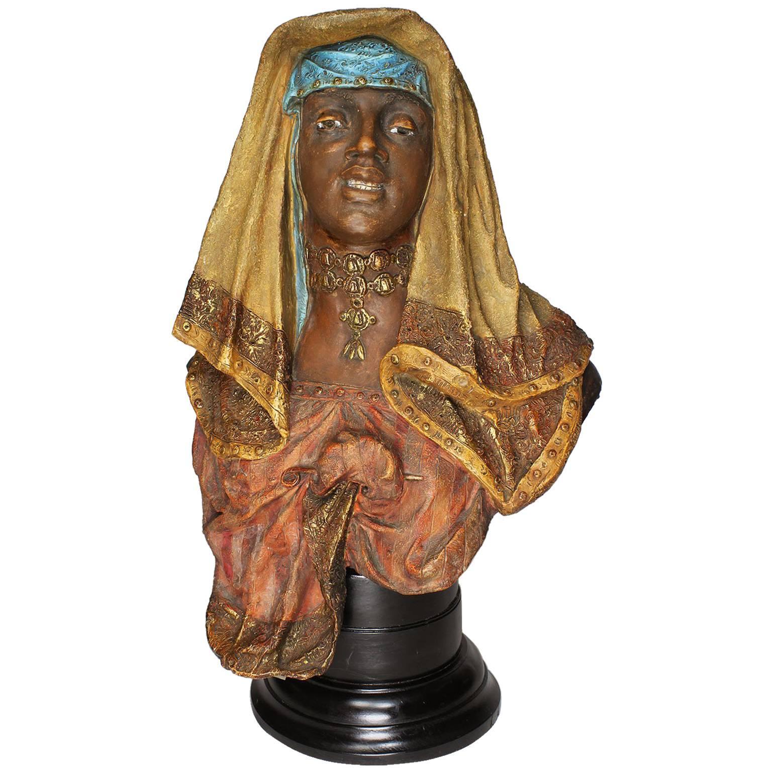 19th-20th Century Orientalist Terracotta Bust of Girl Attributed to Goldscheider