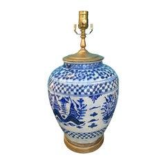 19th-20th Century Persian Blue and White Salt Glazed Porcelain Lamp, Custom Base