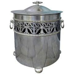 19th-20th Century Regency Style Round Pierced Steel Lidded Coal Hod