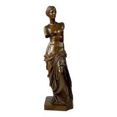 19th-20th Century Ron Sauvage Signed Bronze Statue Venus De Milo