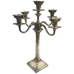 19th-20th Century Sheffield Five-Light Candelabrum by Hawksworth, Eyre & Co