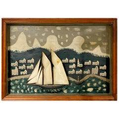 19th-20th Century Ship Diorama of a Schooner Against a Village Scene
