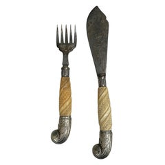 19th-20th Century Two Piece English Carving Set, Marked EPS