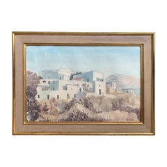 19th-20th Century Watercolor Painting of Ponza, Italy, Unidentified Signature