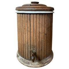 19th-20th Century Wooden Lidded Water Cooler, Ceramic Liner, Old Brass Hardware