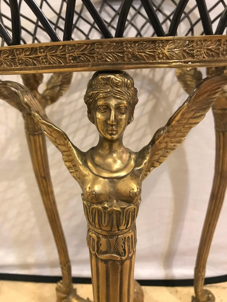 19th-20th Early Empire Bronze Basket or Jardinière on Figural Gilt Bronze Stand In Good Condition For Sale In Stamford, CT