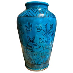 19th-20th Persian Century Blue Glazed Pottery Jar/Vase with Does
