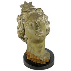 19th American Carving in the Form of Lady Liberty's Head