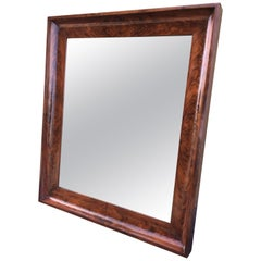 19th Antique Bevelled Frame Burl Mahogany Mirror