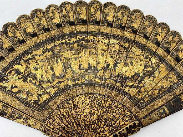 Antique Chinese Hand Painted Lacquer Scene Gilt Fan with Lacquer Box For Sale 6