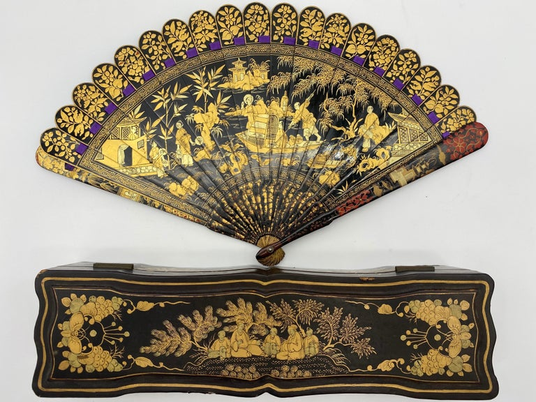 Antique Chinese Hand Painted Lacquer Scene Gilt Fan with Lacquer Box For Sale 9