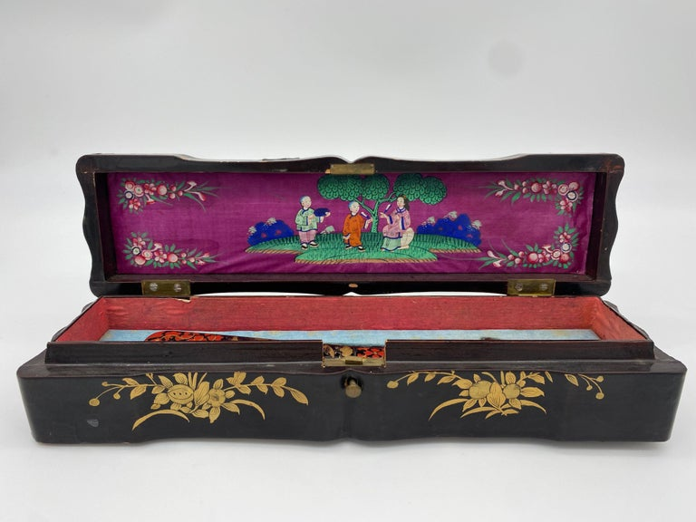 Hand-Carved Antique Chinese Hand Painted Lacquer Scene Gilt Fan with Lacquer Box For Sale