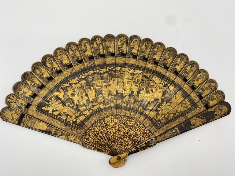 Antique Chinese Hand Painted Lacquer Scene Gilt Fan with Lacquer Box For Sale 1