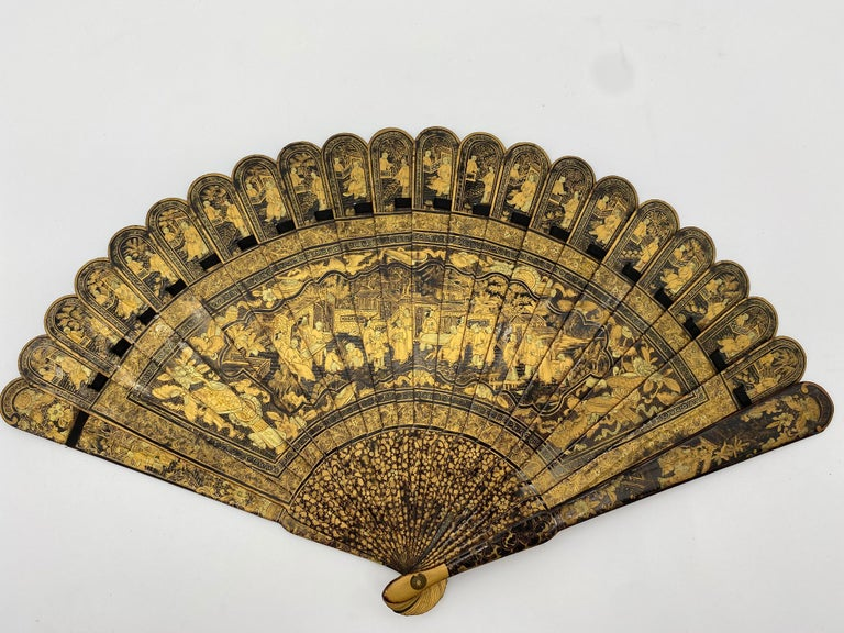 Antique Chinese Hand Painted Lacquer Scene Gilt Fan with Lacquer Box For Sale
