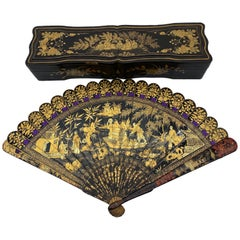 Antique Chinese Hand Painted Lacquer Scene Gilt Fan with Lacquer Box