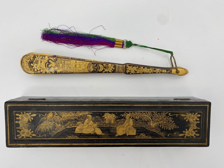 Antique Chinese Hand Paint Gold Lacquer Scene Gilt Fan with Lacquer Box For Sale 9