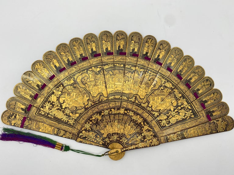 Hand-Carved Antique Chinese Hand Paint Gold Lacquer Scene Gilt Fan with Lacquer Box For Sale