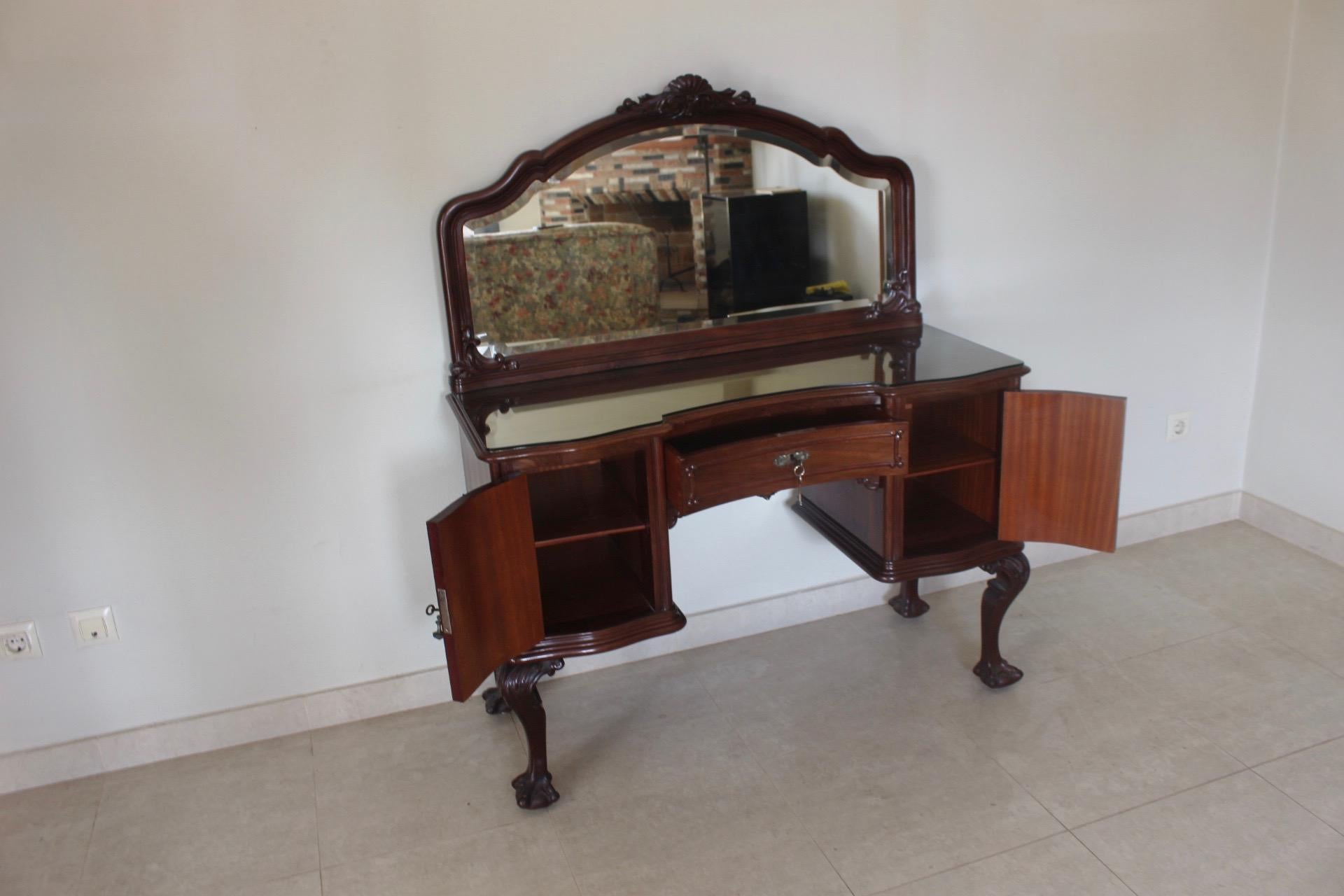Delicieux Chippendale Ball U0026 Claw Mahogany Wood Dressing Table With Mirror, 19th  Century