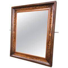 19th Antique Marquetry Inlaid Mahogany Mirror