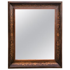 19th Antique Marquetry Inlaid Mahogany Mirror