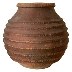 19th Antique Terracotta Ribbed Olive Jar with Dark Lichen Patination, Spain