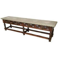 19th Bench or Console Table with Zinc Top and Four Drawers with Handles