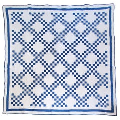 19Th Blue & White Irish Chain Quilt