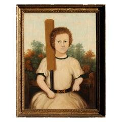 19th Century Folk Art Half Length Portrait the Young Cricketer Oil on Canvas