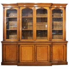 19th C 4 Door Breakfront English Oak Bookcase