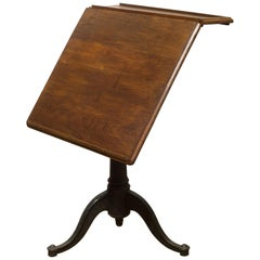 19th Century Adjustable Walnut and Cast Iron Drafting Table, circa 1800s