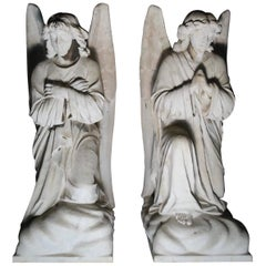 American Carved Authentic Large Marble Angel Statues