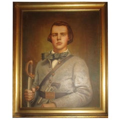 19th C American Civil War Confederate Soldier Framed Oil Painting w/ Provenance